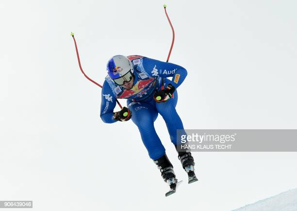 Dominik Paris of Italy performs during a training session of the FIS Alpine World Cup Men's downhill event in Kitzbuehel Austria on January 18 2018 /...