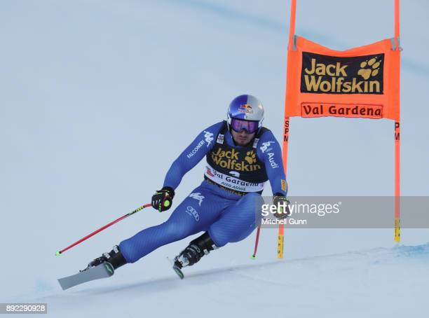 Dominik Paris of Italy races down the Saslong course during the Audi FIS Alpine Ski World Cup Men's Downhill training on December 14 2017 at Val...