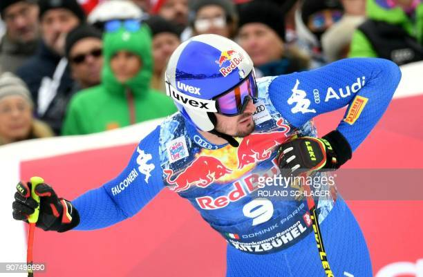 Dominik Paris of Italy reacts after competing in the men's downhill event at the FIS Alpine World Cup in Kitzbuehel Austria on January 20 2018 / AFP...