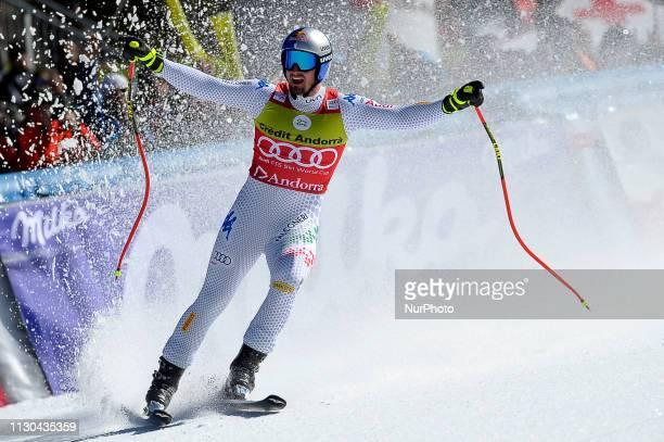 Dominik Paris of Italy Ski Team win the Mens SuperG Audi FIS Ski World Cup race on March 14 2019 in El Tarter Andorra