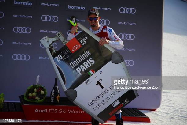 Dominik Paris of Italy takes 1st place during the Audi FIS Alpine Ski World Cup Men's Downhill on December 28, 2018 in Bormio Italy.