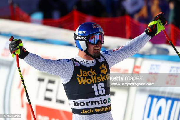 Dominik Paris of Italy takes 1st place during the Audi FIS Alpine Ski World Cup Men's Super G on December 29 2018 in Bormio Italy