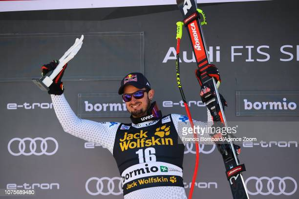 Dominik Paris of Italy takes 1st place during the Audi FIS Alpine Ski World Cup Men's Super G on December 29, 2018 in Bormio Italy.