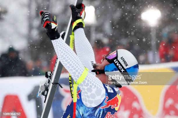 Dominik Paris of Italy takes 1st place during the Audi FIS Alpine Ski World Cup Men's Downhill on January 25 2019 in Kitzbuehel Austria