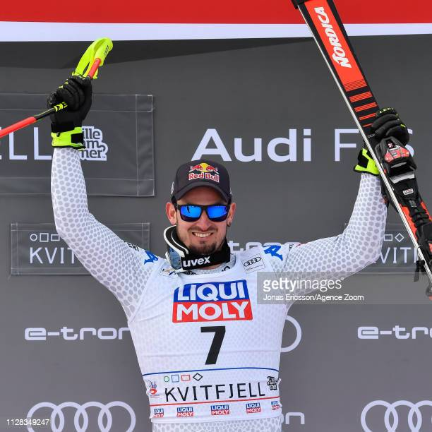 Dominik Paris of Italy takes 1st place during the Audi FIS Alpine Ski World Cup Men's Downhill on March 2 2019 in Kvitfjell Norway