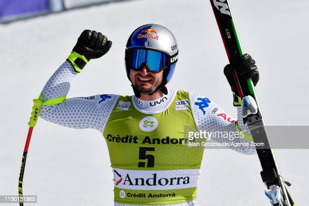 Dominik Paris of Italy takes 1st place during the Audi FIS Alpine Ski World Cup Men's and Women's Downhill on March 13 2019 in Soldeu Andorra