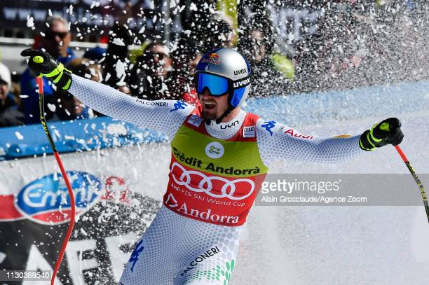 Dominik Paris of Italy takes 1st place during the Audi FIS Alpine Ski World Cup Men's and Women's Super G on March 14 2019 in Soldeu Andorra