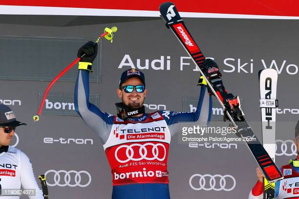 Dominik Paris of Italy takes 1st place during the Audi FIS Alpine Ski World Cup Men's Downhill on December 28 2019 in Bormio Italy
