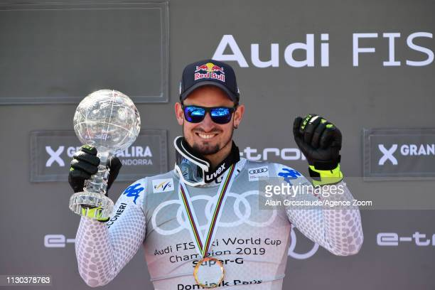 Dominik Paris of Italy takes 1st place in the overall standings during the Audi FIS Alpine Ski World Cup Men's and Women's Super G on March 14 2019...