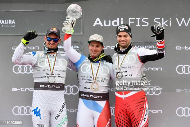 Dominik Paris of Italy takes 2nd place in the overall standings Beat Feuz of Switzerland takes 1st place in the overall standings Vincent Kriechmayr...