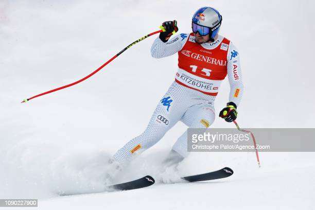 Dominik Paris of Italy takes 3rd place during the Audi FIS Alpine Ski World Cup Men's Super G on January 27 2019 in Kitzbuehel Austria