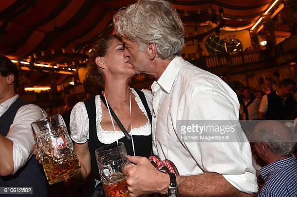 Dominik Raacke and girlfriend Alexandra Rohleder attend the BILD Wiesn at Marstall Festzelt during the Oktoberfest at Theresienwiese on September 26...