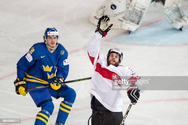 Dominik Schlumpf in action during the Ice Hockey World Championship Quarterfinal between Switzerland and Sweden at AccorHotels Arena in Paris France...