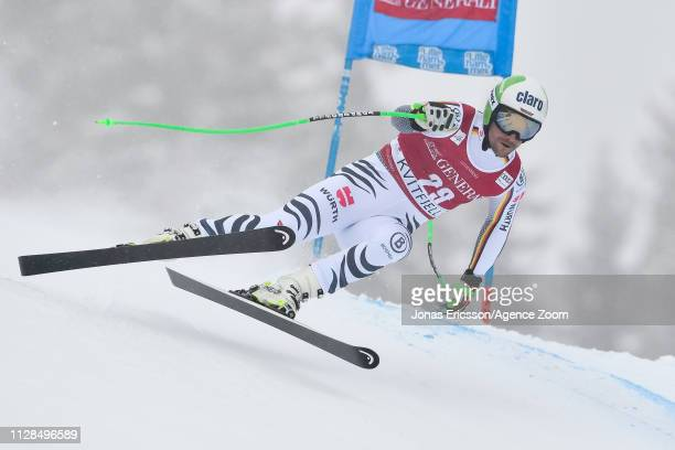 Dominik Schwaiger of Germany competes during the Audi FIS Alpine Ski World Cup Men's Super G on March 3 2019 in Kvitjell Norway