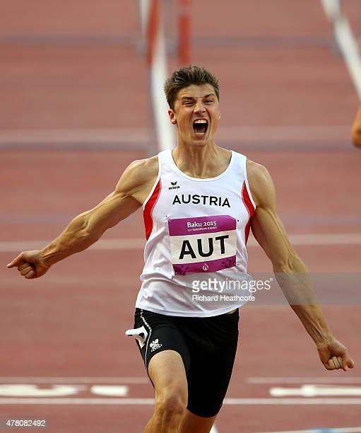 Dominik Siedlaczek of Austria celebrates crossing the finish line in first place the Men's 110m Hurdles heat 2 on day ten of the Baku 2015 European...