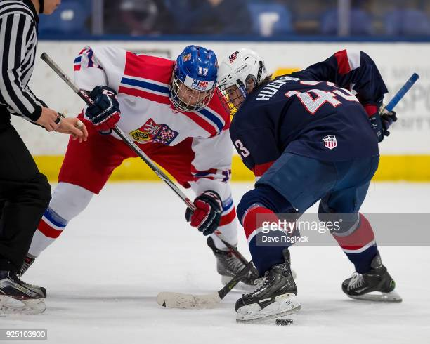 Dominik Sklenar of the Czech Nationals faces off against Jack Hughes of the USA Nationals during the 2018 Under18 Five Nations Tournament game at USA...