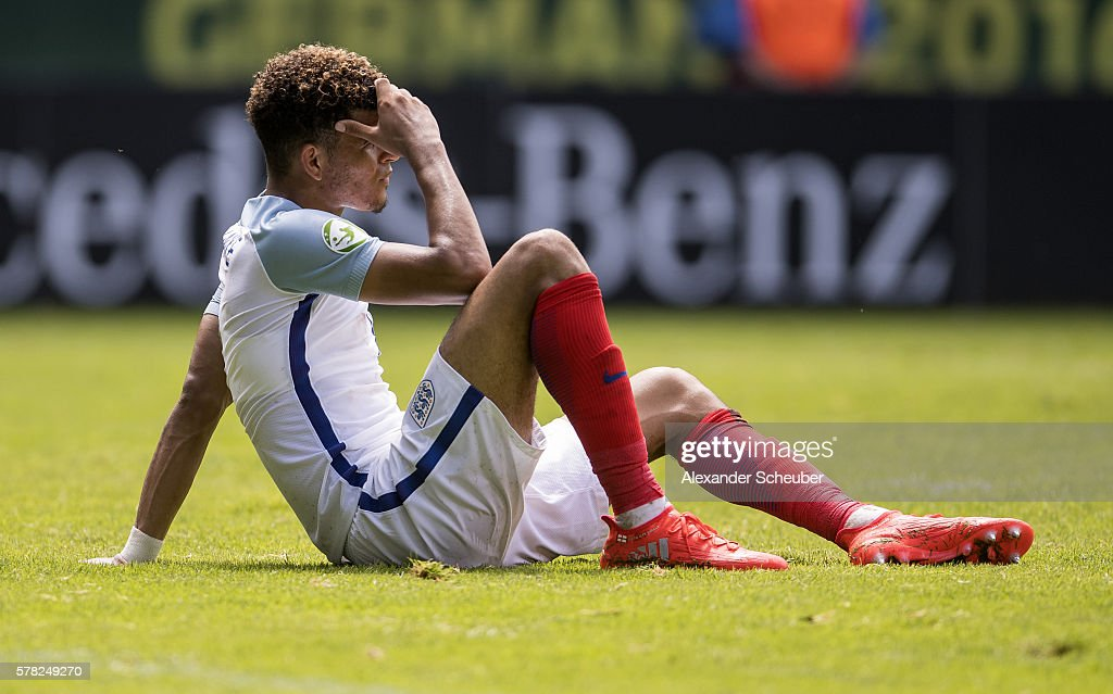 Dominik Solanke of England is disappointed during the U19 Match between England and Italy at Carl-Benz-Stadium on July 21, 2016 in Mannheim, Germany.