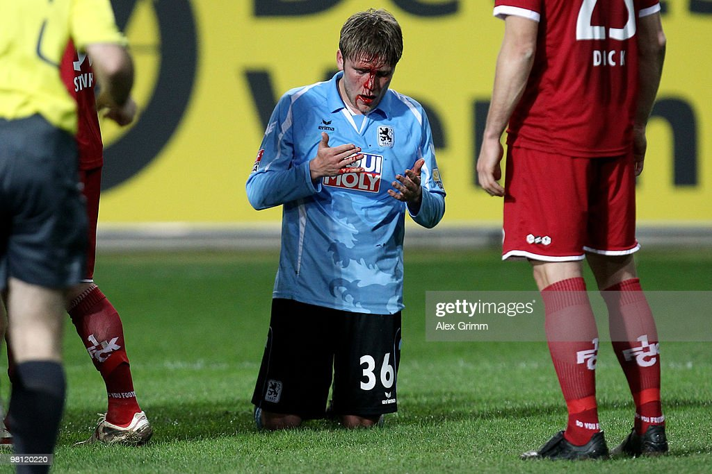 Dominik Stahl of Muenchen reacts during the Second Bundesliga match between 1. FC Kaiserslautern and 1860 Muenchen at the Fritz-Walter Stadium on March 29, 2010 in Kaiserslautern, Germany.