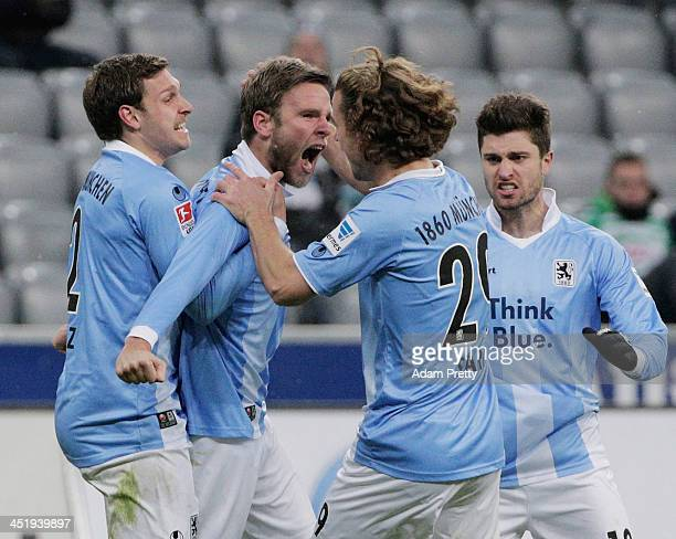 Dominik Stahl of TSV 1860 celebrates scoring a goal during the match between TSV 1860 Muenchen and Greuther Fuerth at Allianz Arena on November 25...