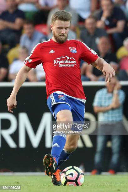Dominik Stahl of Unterhaching during the Third League Playoff leg two match between SV Elversberg and SpVgg Unterhaching at Ursapharmarena on May 31...