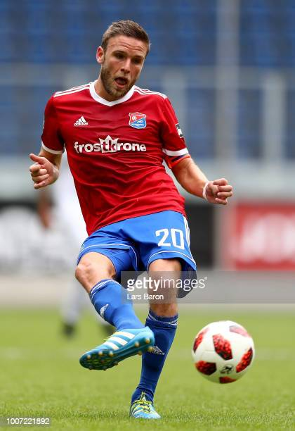 Dominik Stahl of Unterhaching runs with the ball during the 3 Liga match between KFC Uerdingen 05 and SpVgg Unterhaching at schauinslandreisenarena...