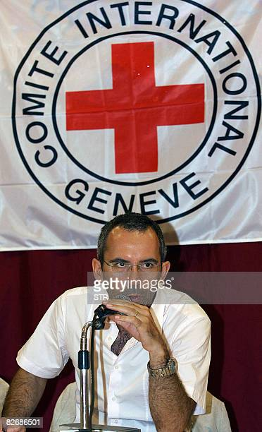 Dominik Stillhart deputy director of the International Committee of the Red Cross speaks during a press conference in Datu Odin Sinsuat town...