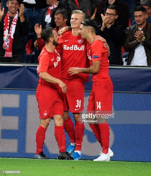 Dominik Szoboszlai of FC Salzburg and Erling Haland of FC Salzburg celebrates scoring a goal pictured during Champions League group E match between...