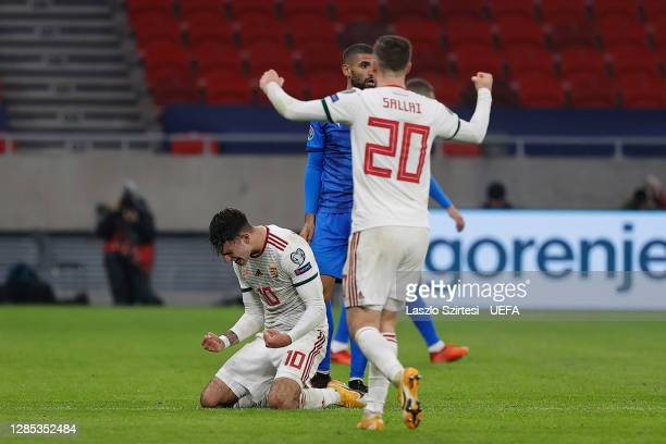 Dominik Szoboszlai of Hungary celebrates at the full time whistle during the UEFA EURO 2020 Play-Off Final between Hungary and Iceland at Puskas...