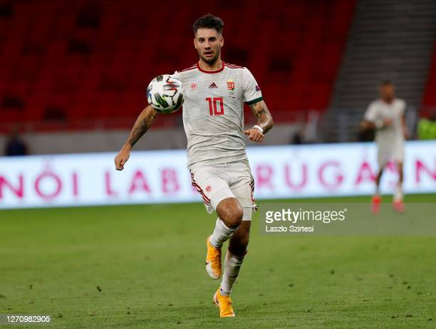 Dominik Szoboszlai of Hungary controls the ball during the UEFA Nations League group stage match between Hungary and Russia at Puskas Arena on...