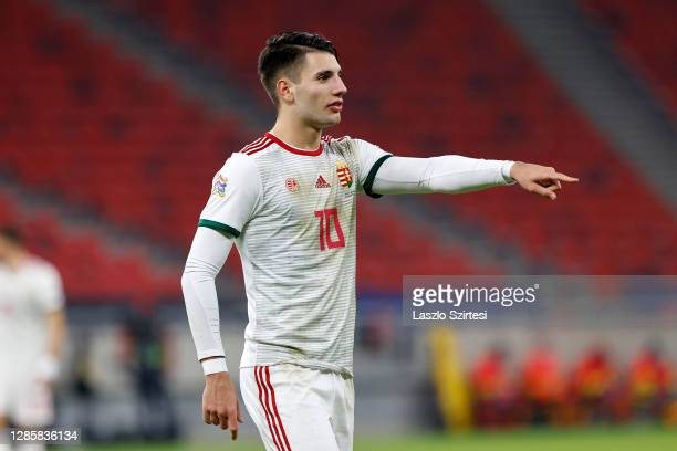 Dominik Szoboszlai of Hungary gestures during the UEFA Nations League group stage match between Hungary and Serbia at Puskas Arena on November 15,...