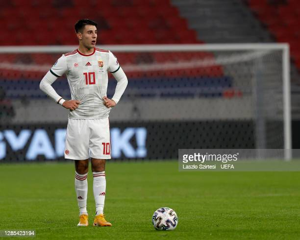 Dominik Szoboszlai of Hungary in action during the UEFA EURO 2020 Play-Off Final between Hungary and Iceland at Puskas Arena on November 12, 2020 in...