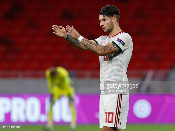 Dominik Szoboszlai of Hungary reacts during the UEFA Nations League group stage match between Hungary and Russia at Puskas Arena on September 6, 2020...