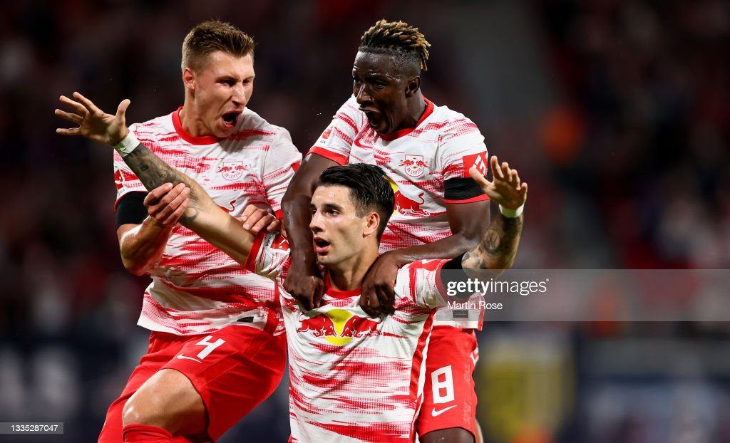 Dominik Szoboszlai of RB Leipzig celebrates after he scores the... News  Photo - Getty Images
