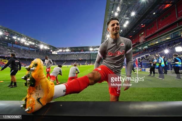 Dominik Szoboszlai of Salzburg warming up before the UEFA Champions League Group A match between RB Salzburg and Lokomotiv Moskva at Red Bull Arena...