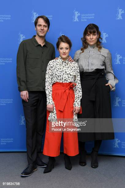 Dominik Warta Sophie Stockinger and Kathrin Resetarits pose at the 'L'Animale' photo call during the 68th Berlinale International Film Festival...