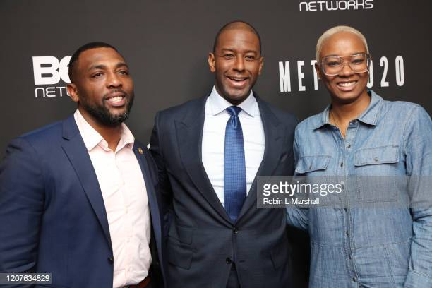 Dominik Whitehead Andrew Gillum and Tiffany D Loftin attend META Convened by BET Networks at The Edition Hotel on February 20 2020 in Los Angeles...