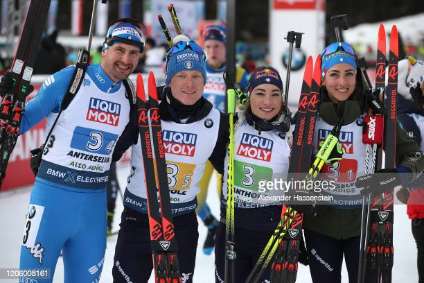 Dominik Windisch Lukas Hofer Dorothea Wierer and Lisa Vittozzi of Italy celebrate winning the 2nd place after the Mixed Relay at the IBU World...