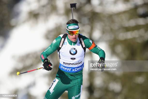 Dominik Windisch of Italy competes at the 10 km Men's Sprint during the IBU Biathlon World Cup at Chiemgau Arena on January 17 2019 in Ruhpolding...