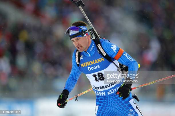 Dominik Windisch of Italy competes at the IBU Biathlon World Championships Men 10km Sprint at Swedish National Biathlon Arena on March 09 2019 in...