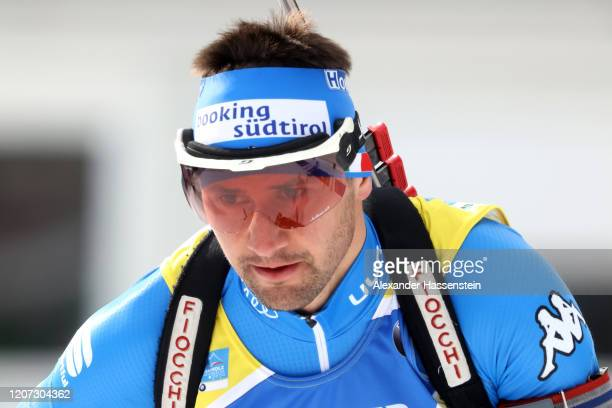 Dominik Windisch of Italy competes during the Men 20 km Individual Competition at the IBU World Championships Biathlon AntholzAnterselva on February...