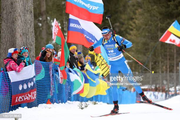 Dominik Windisch of Italy competes during the Men 20 km Individual Competition at the IBU World Championships Biathlon Antholz-Anterselva on February...