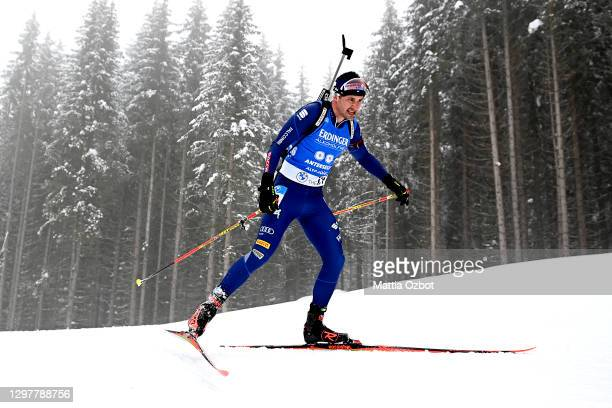Dominik Windisch of Italy competes during the Men 20 km Individual Competition at the BMW IBU World Cup Biathlon Antholz-Anterselva at on January 22,...