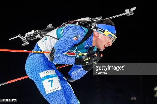 Dominik Windisch of Italy competing in 15 km mass start biathlon at Alpensia Biathlon Centre Pyeongchang South Korea on February 18 2018