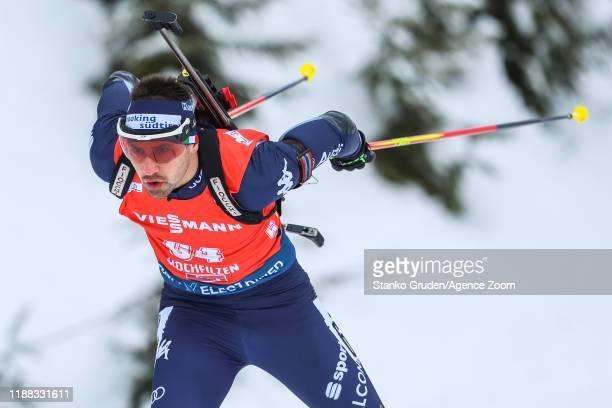 Dominik Windisch of Italy in action during the IBU Biathlon World Cup Men's 10km on December 13, 2019 in Hochfilzen, Austria.