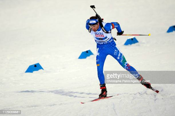 Dominik Windisch of Italy in action during the IBU Biathlon World Championships Men's and Women's Mixed Relay on March 7 2019 in Oestersund Sweden