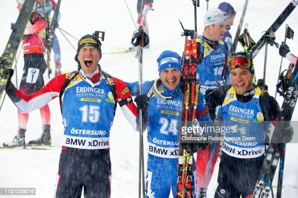 Dominik Windisch of Italy wins the gold medal Antonin Guigonnat of France wins the silver medal Julian Eberhard of Austria wins the bronze medal...