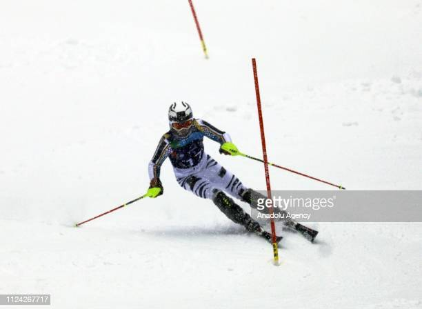 Dominik Zercoch of Germany competes in Alpine Skiing slalom held within the 2019 EYOF at Jahorina Mountain in Sarajevo, Bosnia and Herzegovina on...