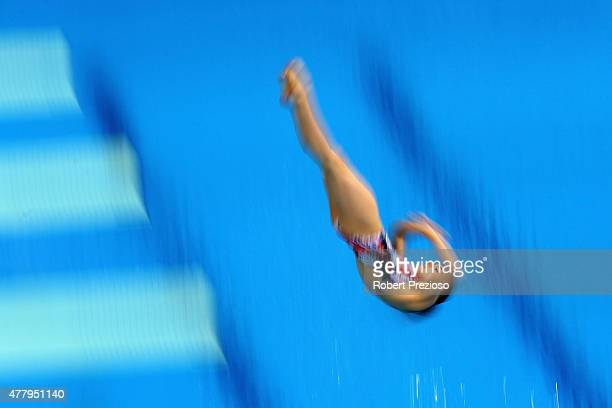 Dominika Bak of Poland competes in the Diving Women's 3m Springboard Preliminary during day nine of the Baku 2015 European Games at the Baku Aquatics...