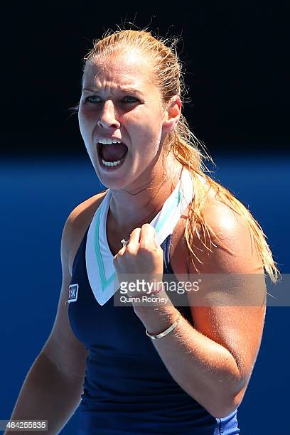 Dominika Cibulkova of Slovakia celebrates a point in her quarterfinal match against Simona Halep of Romania during day 10 of the 2014 Australian Open...