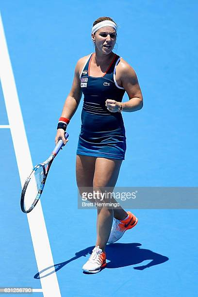 Dominika Cibulkova of Slovakia celebrates after winning a point in her first round match against Laura Siegemund of Germany during day two of the...